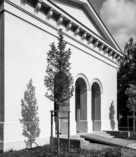 Aussegnungshalle, Protestantischer Friedhof, Augsburg, Schwaben, Bayern, Deutschland