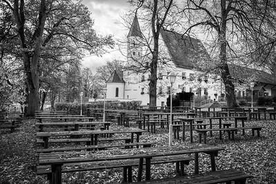 Biergarten in Burgwalden, Bobingen, Schwaben, Bayern, Deutschland