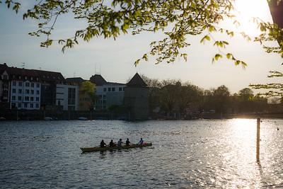 Ruderboot auf dem Rhein in Konstanz