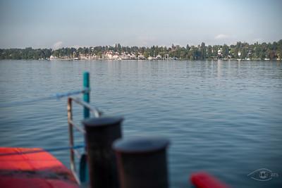 Auf der Fähre mit Blick auf Konstanz, Baden-Württemberg, Deutschland
