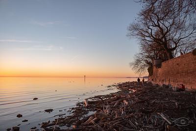 Sonnenuntergang am Bodensee, Lindau, Schwaben, Bayern, Deutschland