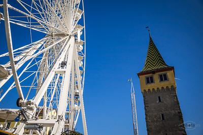 Riesenrad am Hafen von Lindau, Schwaben, Bayern, Deutschland