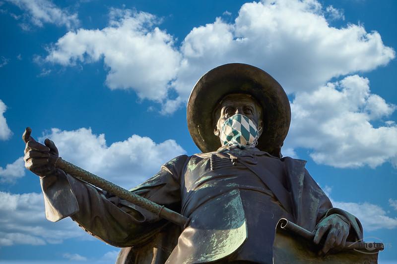 Tilly-Denkmal mit Maske, Rain am Lech, Schwaben,  Bayern, Deutschland