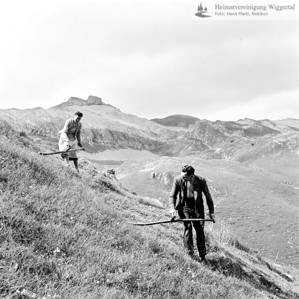 Entlebuch Bauer und Bäuerin beim Heuen mit Sense