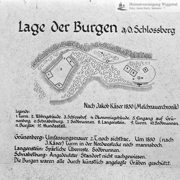 Plan Lage der Burgen Schlossberg