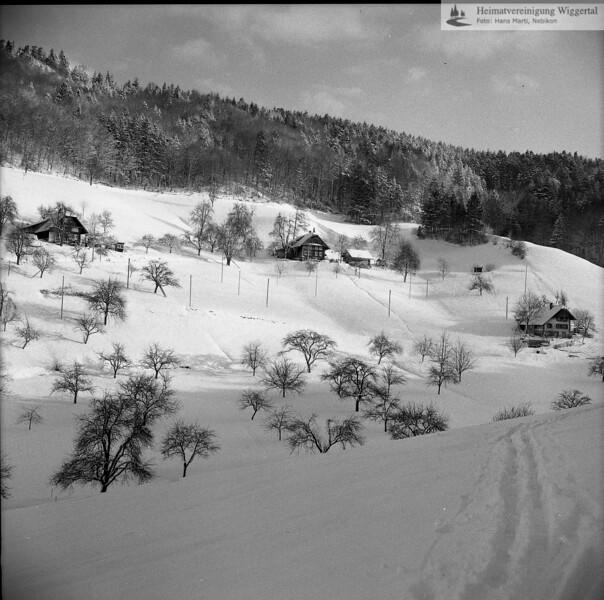 #040826 | Winter; Graben; Gehöfte:; links Zrotz; Mitte Erni; rechts Tanner; pewü; fja