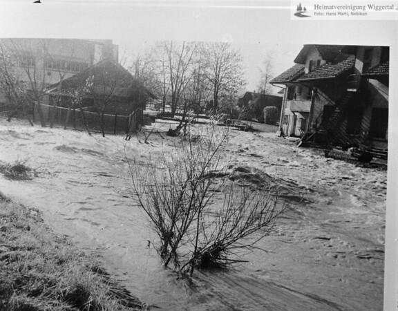 #041756   Hochwasser; 22./23.November 1972; Standort:; Mündung der Luthern in Wigger; von Norden her gesehen; rhä; MHN; fja