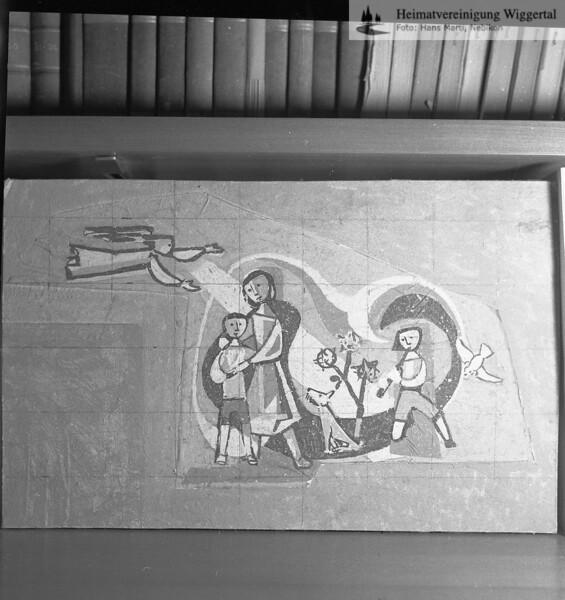 #050556 | Pausenhalle des Käppelimattschulhauses in Willisau-Land, Entwurf für Sgraffito von Willy Huwiler, Photo und Text von H. Marti im Der Hinterländer, Heimatkundliche Beilage des Willisauer Boten 1965; kvh