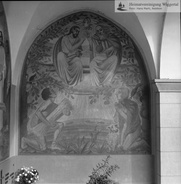 #050536 | Friedhofhalle Grosswangen, Fresken von Huwiler Willy, Kunstmaler Ruswil, 1938; kvh