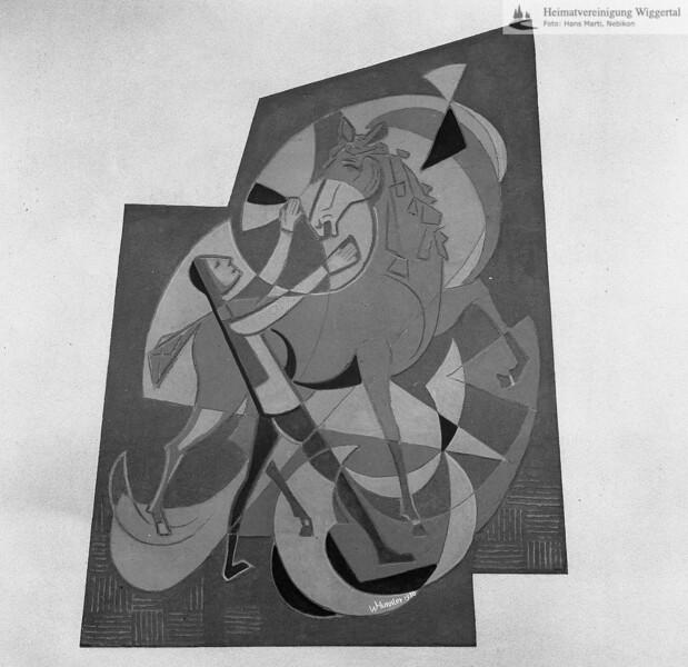 #050559 | wo?; Sgraffito, Pegasus, von Huwiler Willy, Kunstmaler , Ruswil; kvh