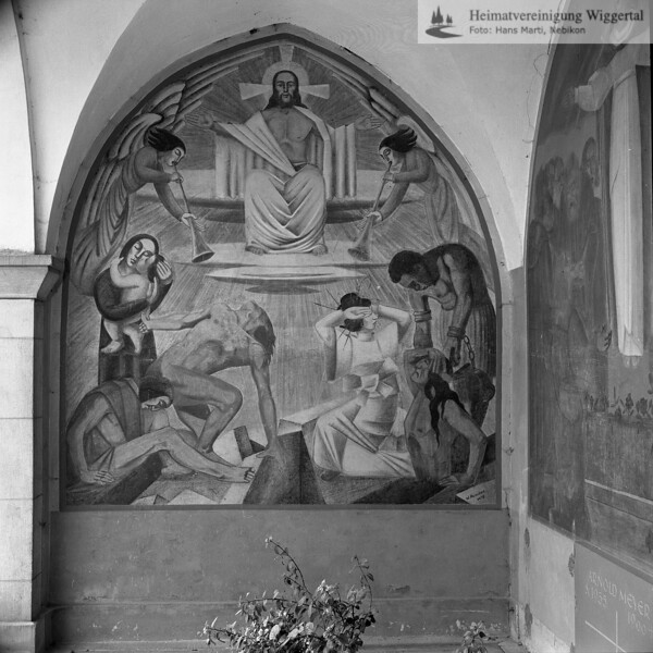 #050535 | Friedhofhalle Grosswangen Fresken von Huwiler Willy, Kunstmaler Ruswil - 1938; kvh