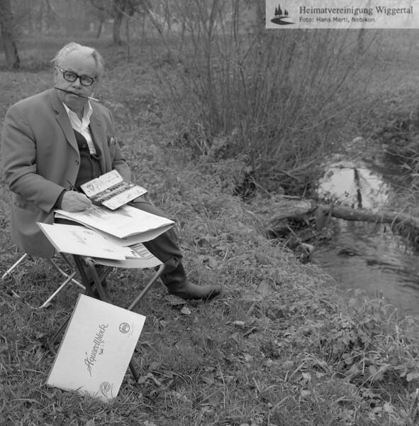 #051067 | Lehrer Josef Suter; beim Aquarellieren an der Rot; awk; PBA