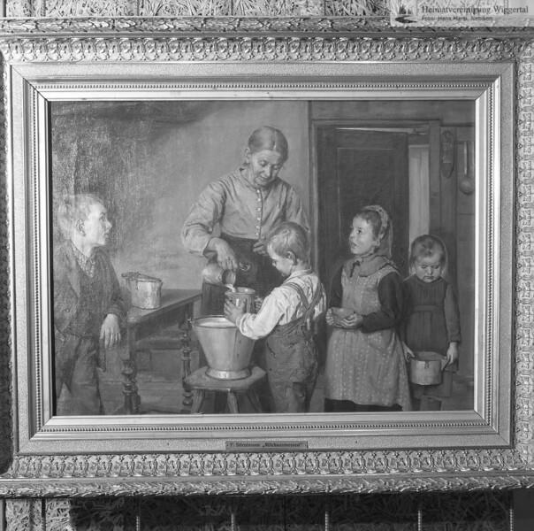 #051121 | Milchausmessen, 1891; Die Milch austeilende Frau ist die Mutter des Malers; Oel auf Leinwand 50 x 68 cm. Kunstmuseum Luzern KML C 20x; von Kunstmaler Friedrich Stirnimann, Ettiswil (1841 - 1901); s.051111; awk