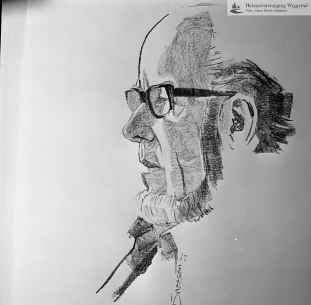 #051376 | Dr. h.c. Josef Zihlmann; Kohlezeichnung (Dreesen 72); fja