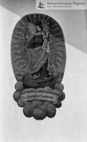 #110017 | Mariazell; Chor-Aussenwand; Inschrift; Sei gegrüsst du Gnadenvolle; amei; fja