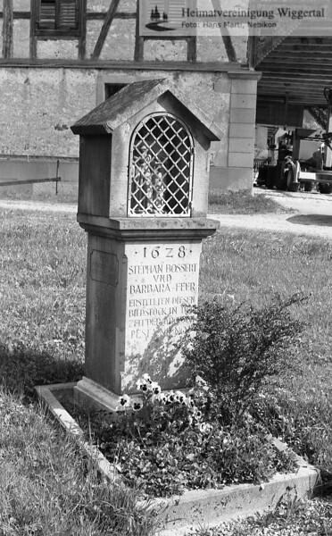 #110028 | Inschrift; 1678; STEPHAN BOSSERT; UND; BARBARA FEHRERSTELLTEN DIESEN; BILDSTOCK IN . ; . . ; wo?; fja