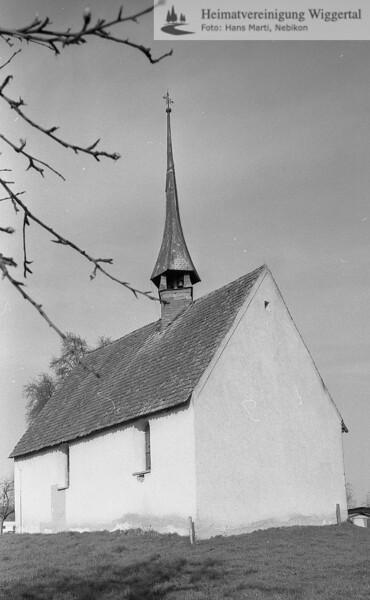 #110009 | wo? was?; Wahrscheinlich:; Kapelle St. Margrethen in Nottwil; Blick von Osten vor der Renovation; ca. 1990; boan