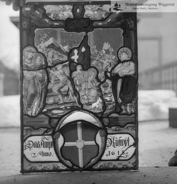 #110120 | Wappenscheibe; Das Ampt Ruswyl; anno 1618; fja