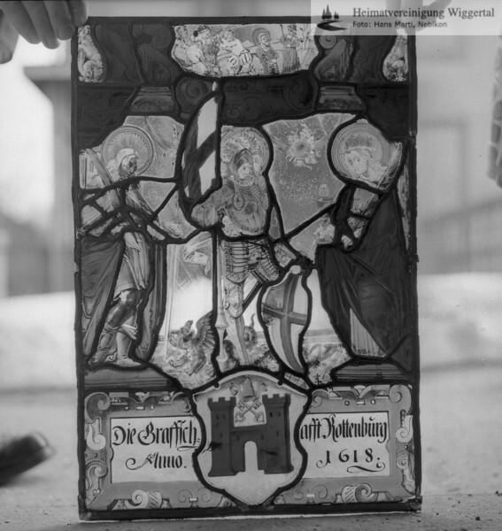#110124 | Wappenscheibe; Die Graffschafft Rottenburg; Anno.1618; fja