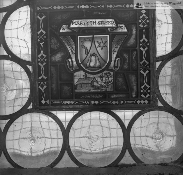 #110115 | Wappenscheibe; FRL. PAULA & MARGRITH STOFER Ao 1934; fja