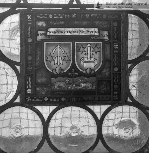 #110117 | Wappenscheibe; Allianzwappen; FRAU ANNA TROXLER-BRUNNER; fja