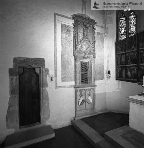 #140165 | Sakramentskapelle; erbaut um 1450; Chorraum mit Sakramtentshäuschen und Flügelaltar; fwk