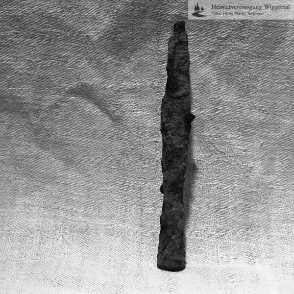 #160621 | Burgstelle Salbüel; Ausgrabung 1982; Fundobjekt: Geschossspitze; fwk