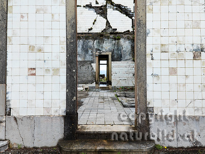 Aufgelassener Leuchtturm, Detailfoto, vom Erdbeben zerstört, Riberhina, Faial, Azoren, Portugal