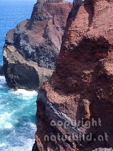 Gesteins Struktur der Vulkanküste bei Capelinhos, Faial, Azoren, Portugal