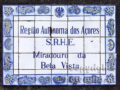 Tafel aus Porzellankacheln, Insel Sao Miguel, Azoren, Portugal,