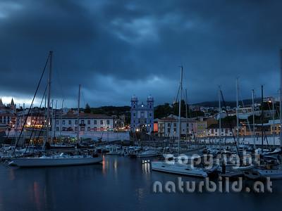 Abendstimmung, schwere Wolken, Jachthafen, Angra, Terceira, Azoren, Portugal