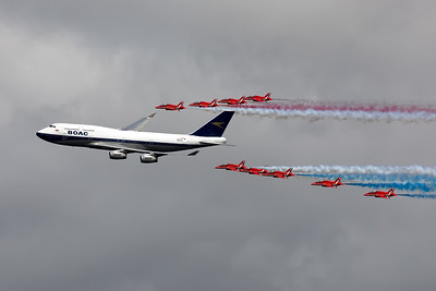 British Airways| Boeing 747-436 | G-BYGC | The British Airwaya BOAC livery at RIAT 2019 together with the Red Arrows