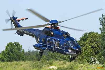 Federal Police Super Puma take off from Pömetsried