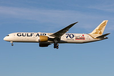 "Gulf Air | Boeing 787-9 Dreamliner | A9C-FE | ""70th anniversary"" sticker"