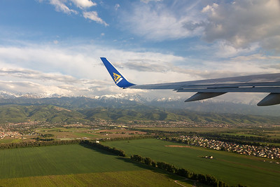 Wing View during Departure at Almaty Airport