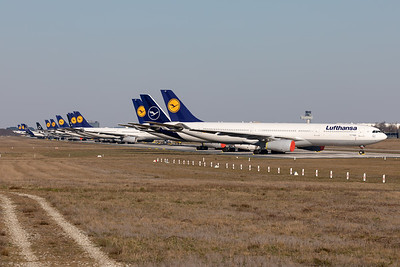 Parked Lufthansa Aircraft on RWY 07L/25R at Frankfurt Airport