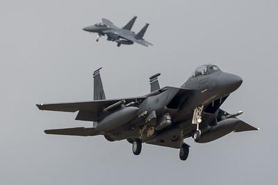 USAF 492 FS / Boeing F-15E Strike Eagle / 91-0605 LN & 97-0218 LN