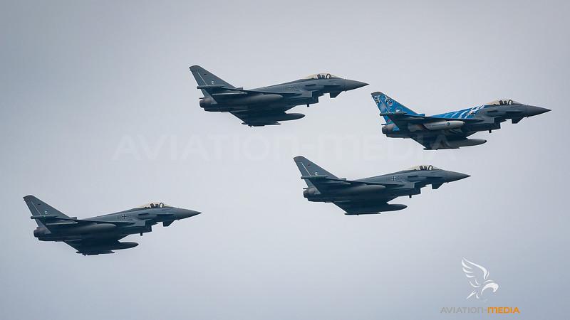 "German Air Force TLG-74 / Eurofighter Typhoon / 31+01 & 30+45 & 30+74 & 30+15 / The ""Bavarian"" Tiger"
