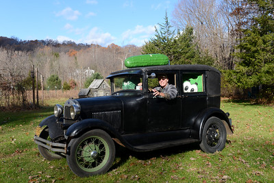 Tania Barricklo-Daily Freeman                      Bill Brooks , the co-founder of the Rosendale Pickle Festival, sits in the front seat of his 1929 Model A Ford ready for the 19th Annual Pickle Festival on November 20 from 10am-5pm at he Rosendale Recreation Center on Rt 32..