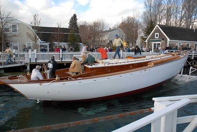 Magnolia touches the water for the  first time. The 56 ft schooner, owned by Sid Imes of Columbus, MS  was launched at York Harbor after construction in Paul Rollins' York boat shop.