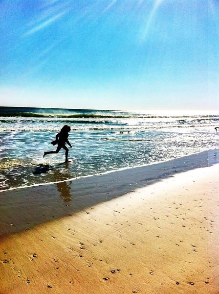Winter will not stop Renee from enjoying the beach