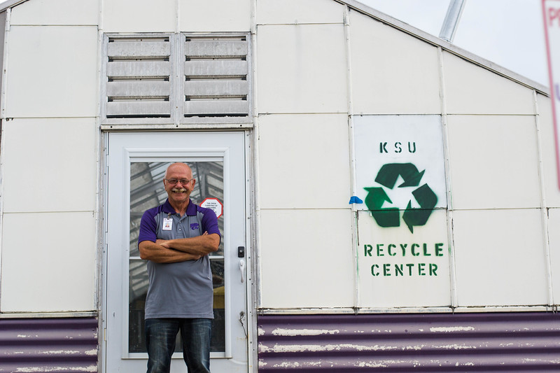 Bill Spiegel, Recycling Supervisor, has created a quick and easy way for students to recycle at the KSU recycle center. Spiegel is passionate about creating a waste free community and helping both current and future students. (Hannah Greer | Collegian Media Group)