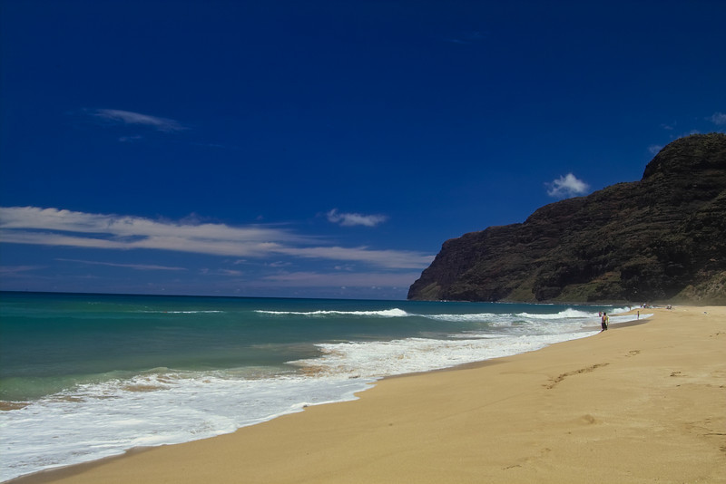 Polihale Beach looking North with the Na Pali Coast cliffs looming.