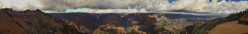 Thursday, August 25th, 2005:  <br /> Wondrous panorama of Waimea Canyon with the Pacific Ocean on the right.