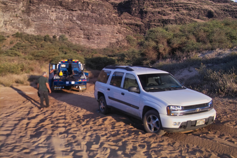 Five hours and $625 later we were towed the 25 feet.  In the end, though, it turned out that the rental car company admitted the 4WD was NOT working on the Trail Blazer.  Bill will never hear the end of this story!