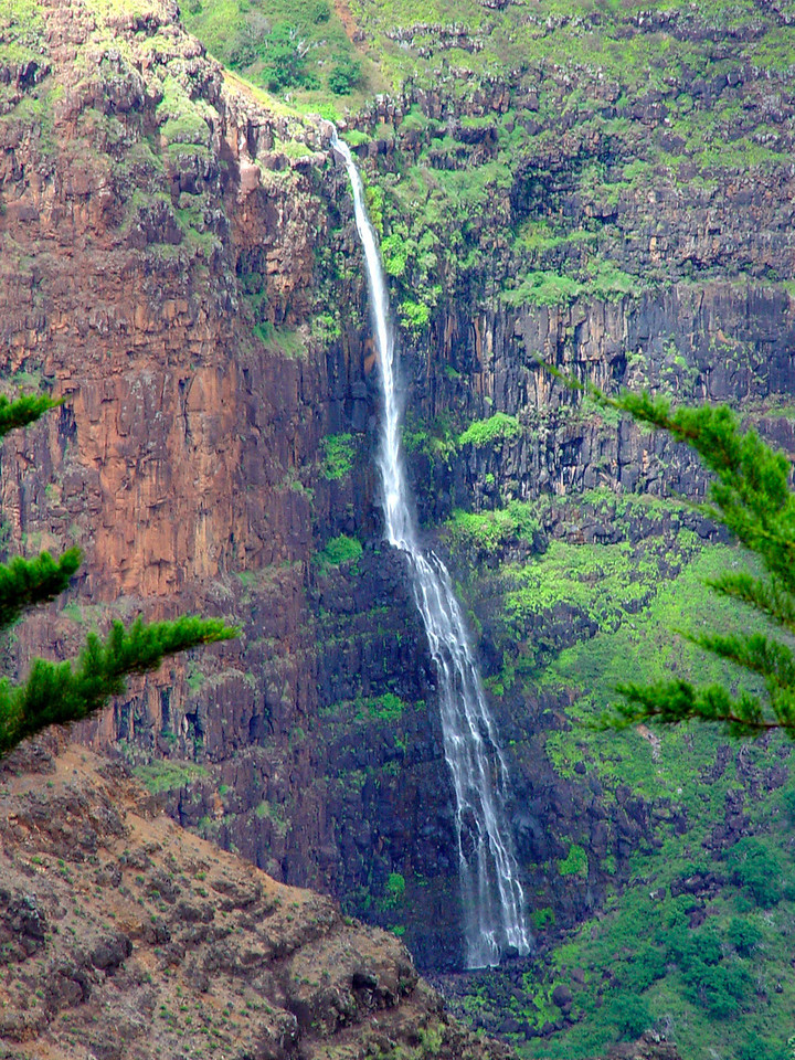 A closeup view of Waialae Falls in Waimea Canyon.