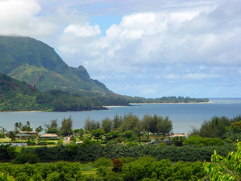 Each new vista in Kaua'i is more spectacular than the last.  This is Hanalei Bay from another lookout heading down the road to the valley floor.