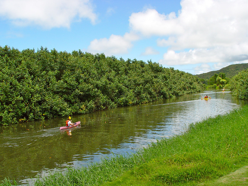 To one side was the quiet Hanalei River with kayakers paddling past.