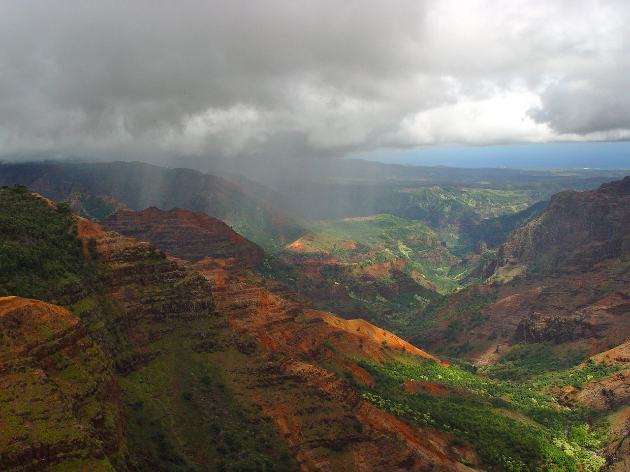 "Waimea Canyon, with the Pacific Ocean in the background, is truly one of nature's wonders.  Mark Twain called it the, ""Grand Canyon of the Pacific.""  You can easily spend a whole day taking in its beauty from the numerous vista points."