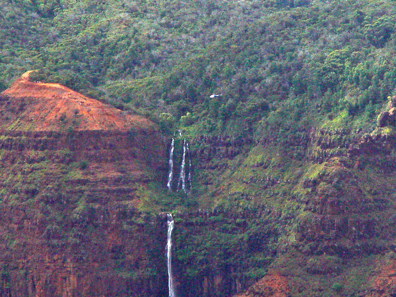 Note the helicopter just above and to the right of Waialae Falls.
